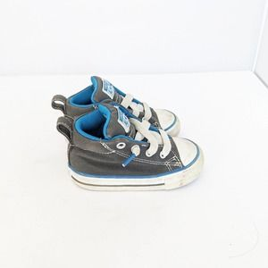 Converse Grey and Blue High Top Baby Sneakers 5C